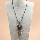 Simple Retro Style Chandelier Shape Tear Drop Gray Crystal Tassel Pendant Necklace With Black Leather