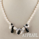 Wholesale rice shape white pearl and black agate necklace with lobster clasp