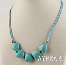 Wholesale heart turquoise and garnet necklace with extendable chain