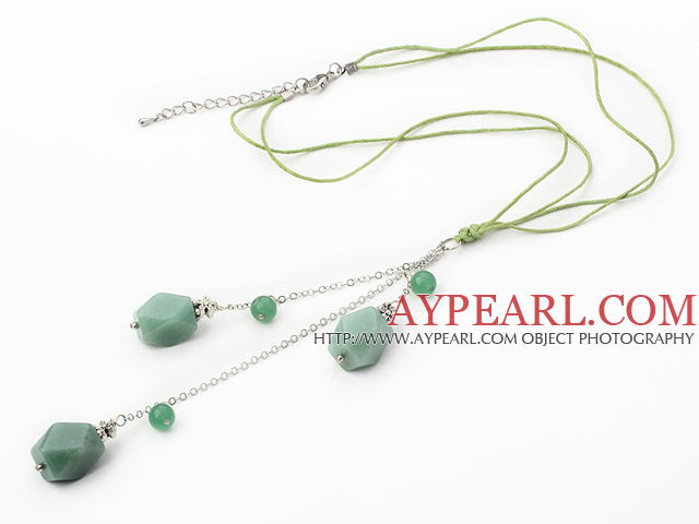 18.1 inches aventurine necklace pendant with extendable chain