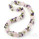 Light Series Pink and Purple Rose Quartz et Améthyste et Olivine et blanc collier de perles