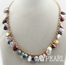 Wholesale Assorted Multi Color Coin Pearl Necklace with Yellow Metal Chain