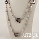 47.2 inches long style pearl shell and agate beaded nekclace 