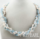 Wholesale Multi Strands White Freshwater Pearl and Aguamarine Twisted Necklace