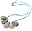 Wholesale Simple Style Fan Shape Big Drop Amazon Stone Necklace with Blue Thread