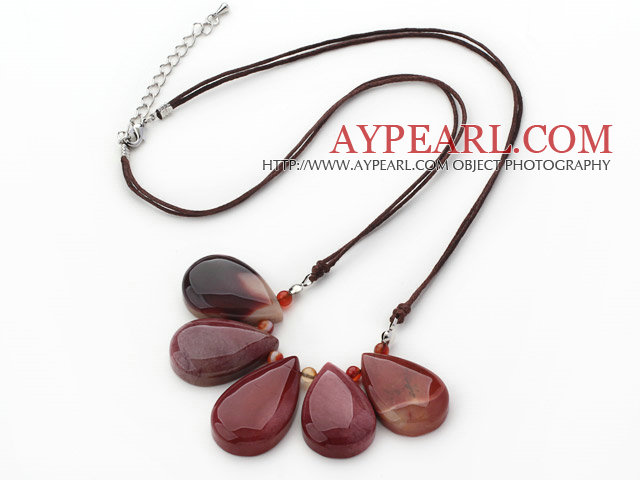 Simple Style Fan Shape Big Drop Silver Leaf Agate Necklace with Blue Thread
