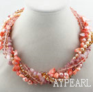 Wholesale Assorted Pink Freshwater Pearl Shell and Strawberry Quartz Twisted Necklace