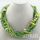 Wholesale Assorted Green Teeth Shape Pearl Crystal and Aventurine Twisted Necklace