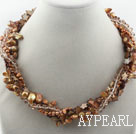 Wholesale Assorted Brown Freshwater Pearl Crystal and Brown Shell Twisted Necklace