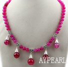 Wholesale Round Rose Pink Agate Necklace with Lobster Clasp