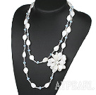 Wholesale Long Style Clear Crystal and White Shell Flower Necklace