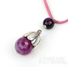 Wholesale Simple Style Faceted Purple Agate Pendant Necklace