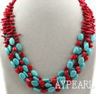 Multi Strands Assorted Branch Shape Red Coral and Oval Shape Turquoise Necklace