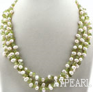 Wholesale Three Strands Assorted White Freshwater Pearl and Olive Stone Necklace