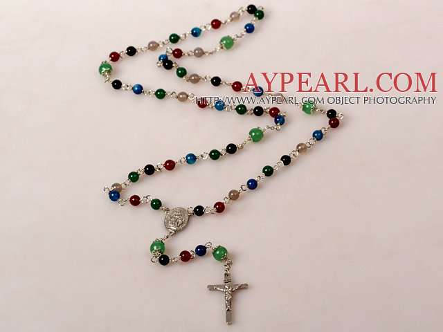 Fashion Multi Color Agate Cross Prayer Necklace