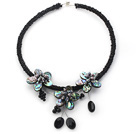 Wholesale Black Freshwater Pearl and Abalone Shell Flower Choker Necklace
