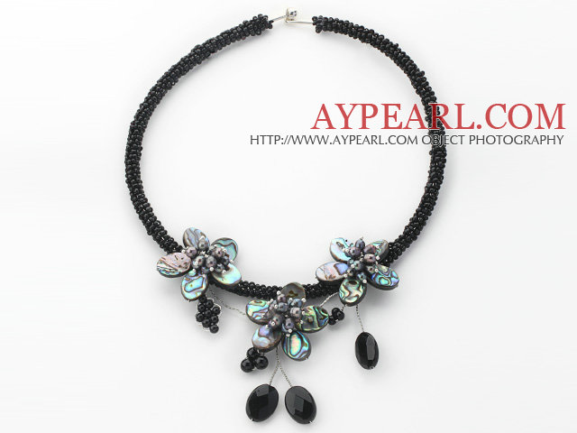 Black Freshwater Pearl and Abalone Shell Flower Choker Necklace