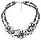Wholesale Elegant Style Black Freshwater Pearl and Black Shell Flower Necklace