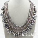 Multi Strands Gray White Freshwater Pearl Crystal and Agate Necklace