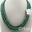 Wholesale Three Strands 8-9mm Round Dyed Dark Green Freshwater Pearl Necklace with White Shell Flower Clasp