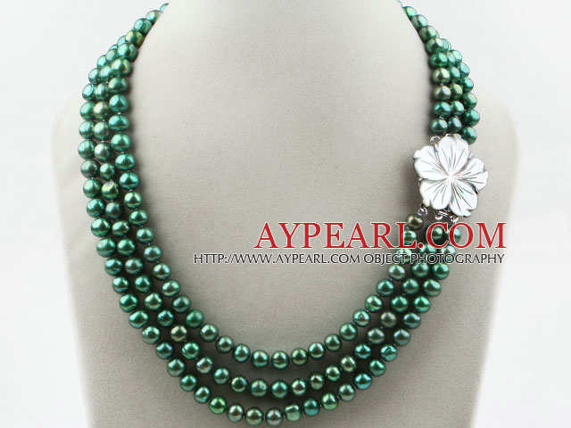 Three Strands 8-9mm Round Dyed Dark Green Freshwater Pearl Necklace with White Shell Flower Clasp