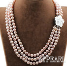 Wholesale Three Strands 8-9mm Round Natural Purple Freshwater Pearl Necklace with White Shell Flower Clasp