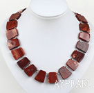 chunky style red jasper necklace with moonlight clasp