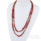 Assorted Red Sötvatten Pearl och Red Jasper Long Style Halsband