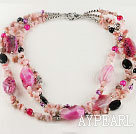 Wholesale 3 strand gorgeous pink opal and black agate necklace
