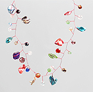 Multi Color Crystal and Shell Beads Crochet Wire Necklace