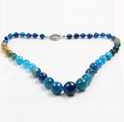 Round faceted blue agate graduated beaded necklace
