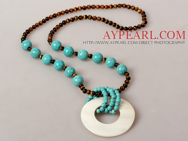 Assorted Tiger Eye and Turquoise Necklace with Big White Shell Pendant
