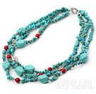 gorgeous three strand turquoise and red coral necklace