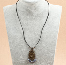Simple Retro Style Round Blue Spot Stone Beads Pendant Necklace With Black Leather