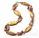 Wholesale 17.7 inches brown pearl and shell necklace with lobster clasp