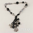18.1 inches vogue jewelry pearl and black agate necklace