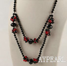 double strand red and black crystal necklace with lobster clasp