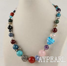 Wholesale 17.7 inches multi color gem stone necklace with lobster clasp