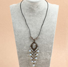 Clear White Crystal Necklace with Magnetic Clasp