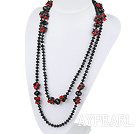 Wholesale 51.2 inches long style red and black crystal nekclace