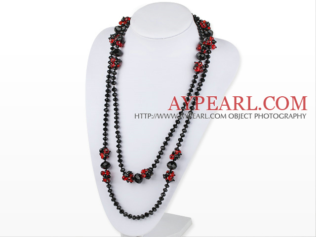 51.2 inches long style red and black crystal nekclace