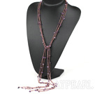 fashion long style multi strand natural amethyst y shape necklace