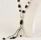 Y shape 18.1 inches faceted black agate necklace