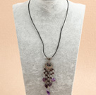 Simple Retro Style Chandelier Shape Garnet Amethyst Beads Tassel Pendant Necklace With Black Leather
