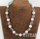 Wholesale 17.7 inches white and pink colored glaze nekclace