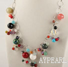 19.7 inches multi color gemstone necklace with extendable chain