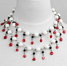 Wholesale fashion jewelry long style 39.4 inches giant clam red coral and agate necklace