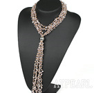 Wholesale vogue jewelry 31.5 inches Y shape rose quartze and pearl Tassel necklace