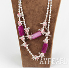 51.2 inches long style sparkly white pearl crystal and pink agate necklace