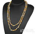 Wholesale Assorted Yellow Freshwater Pearl and Critine Long Style Necklace